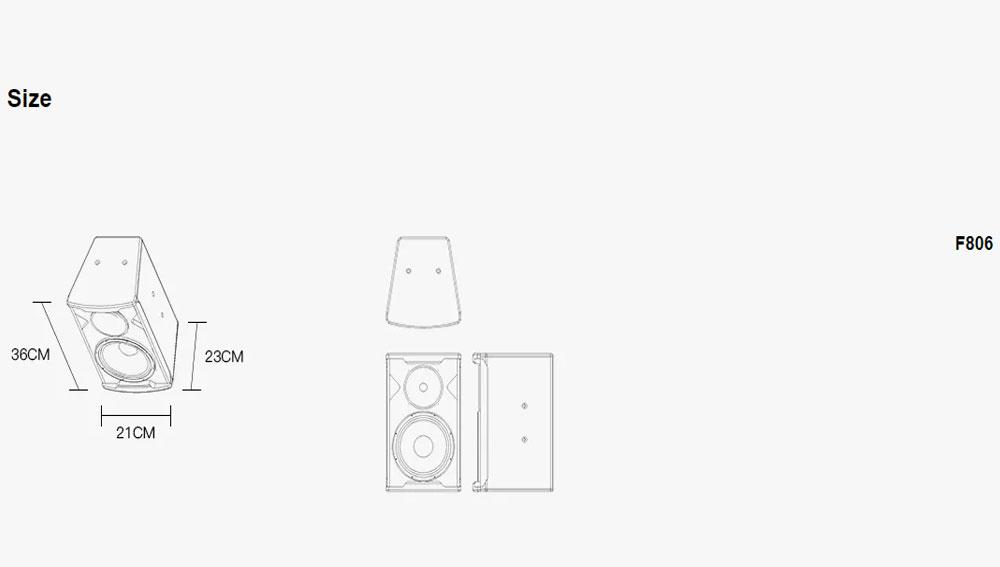 Loa karaoke F-Series -F806/08/10/12/15/30 kích thướt 1